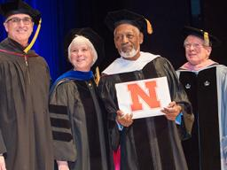 (Left to right) Hixson-Lied College of Fine and Performing Arts Endowed Dean Charles O'Connor, Interim Senior Vice Chancellor Marjorie Kostelnik, Dr. Victor Lewis and Glenn Korff School of Music Interim Director Peter Lefferts. Photo by Greg Nathan, Unive
