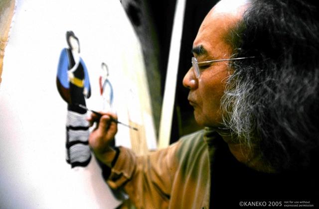Artist Jun Kaneko at work.