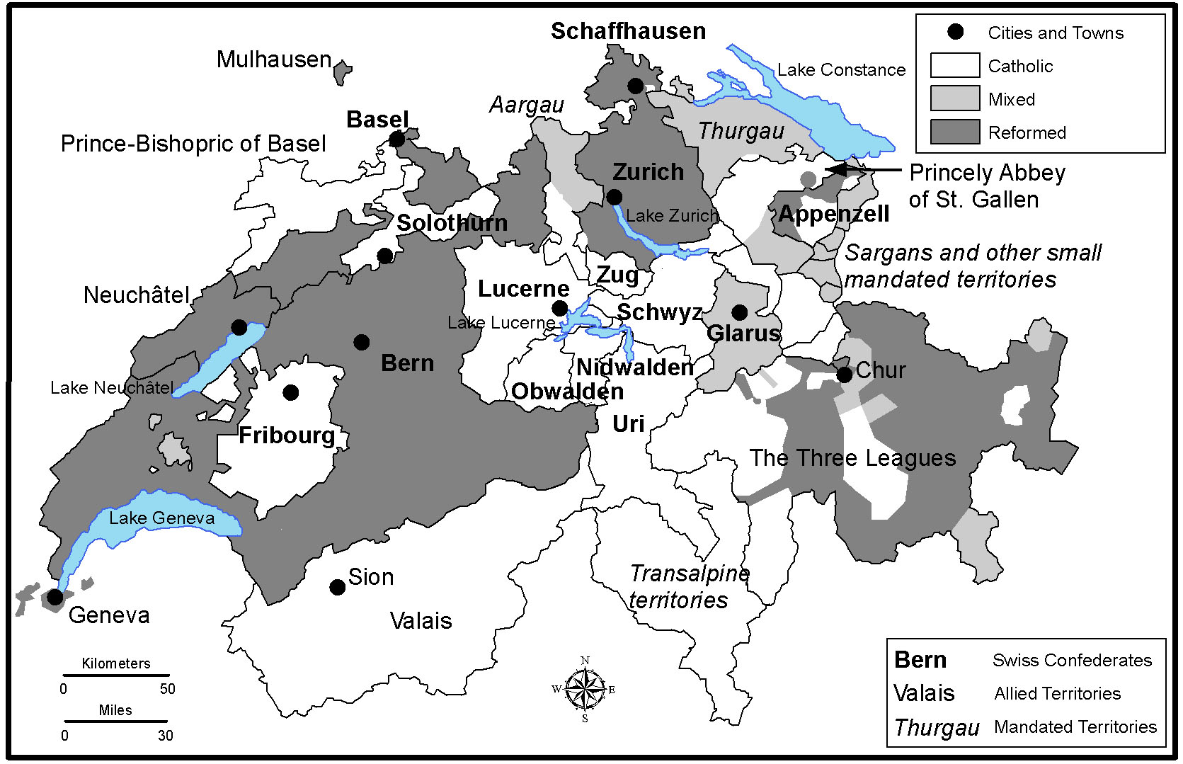 "Religious divisions within the Swiss Confederation in the 17th Century"" are depicted in this map, which runs on page 591 in ""A Companion to the Swiss Reformation."" 
