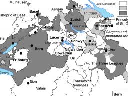 """Religious divisions within the Swiss Confederation in the 17th Century"""" are depicted in this map, which runs on page 591 in """"A Companion to the Swiss Reformation."""" 