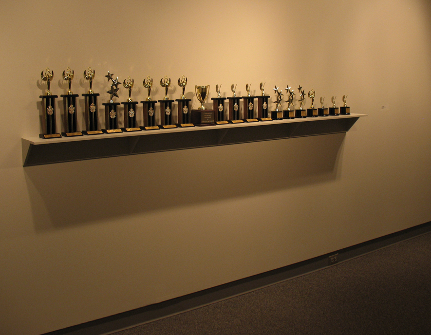 "Lance Wakeling's sculpture, ""Untitled (Reference Library),"" used an internet-based service to create trophies, one for each book the artist read in 2010."