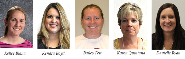 Kellee Blaha (Brownell Elementary, LPS); Kendra Boyd (Highland Elementary, OPS); Bailey Feit (Lincoln North Star High School, LPS); Karen Quintana (Castelar Elementary, OPS); and Danielle Ryan (Starr Elementary, Grand Island)