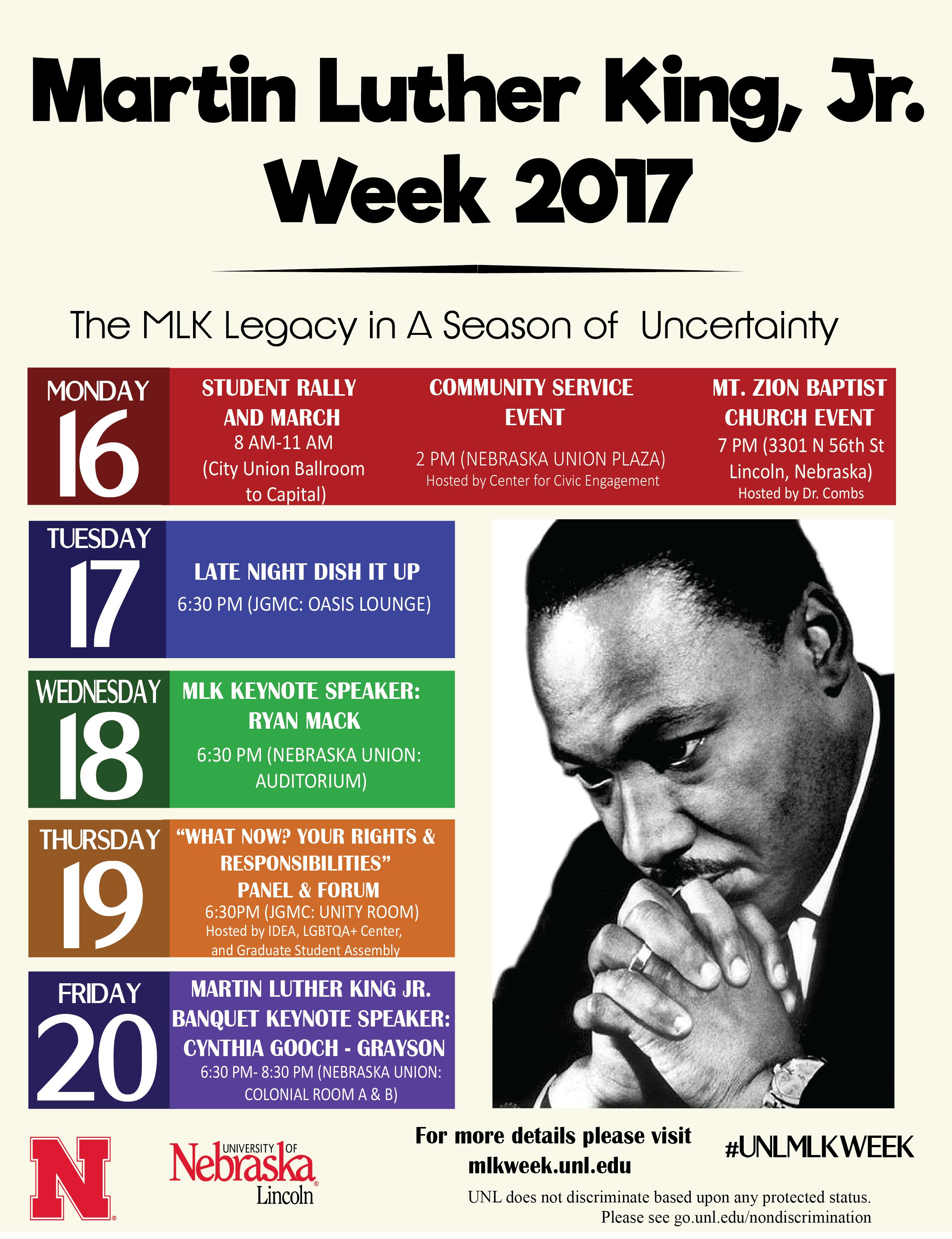 UNL Chancellor Presents MLK Week 2017