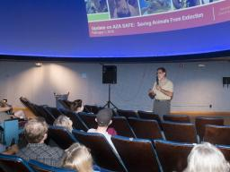 John Chapo, president and CEO of the Lincoln Children's Zoo, speaks during a Science Cafe program at Morrill Hall in June 2016. The series allows adults 21 and older to explore science and natural history topics in a casual environment.  Greg Nathan | Uni