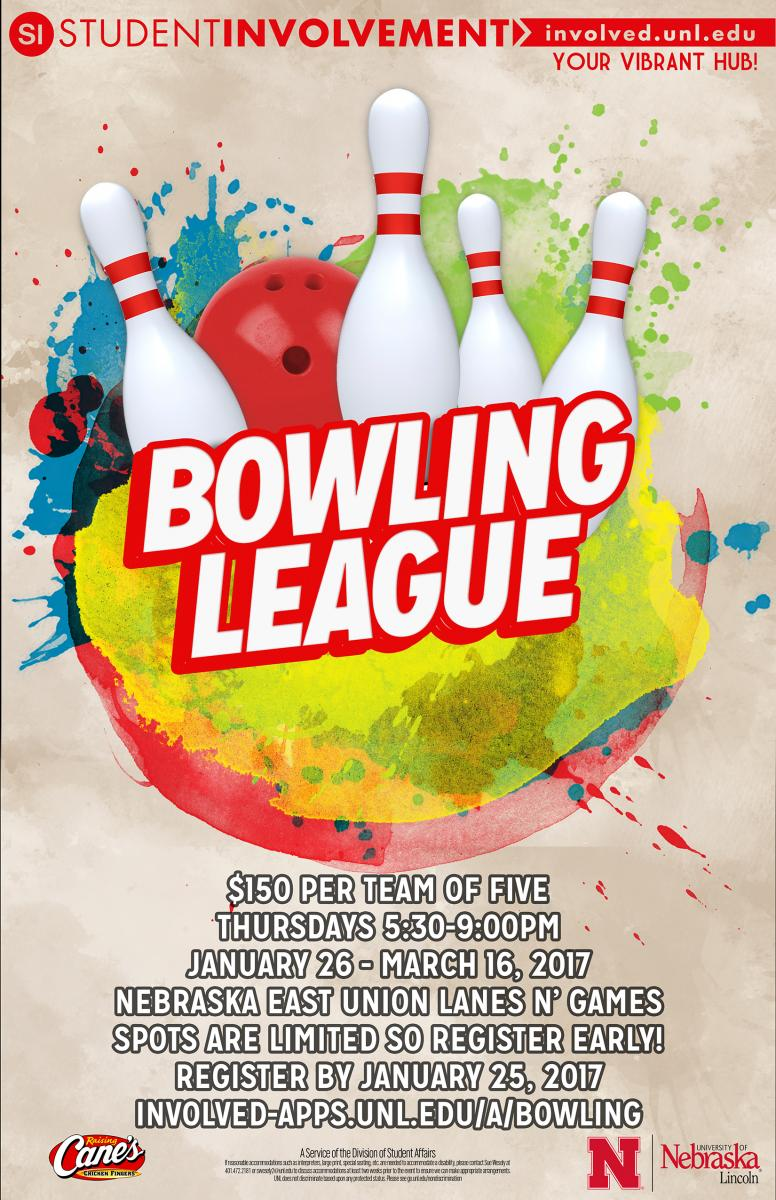 Sign up for you and four friends to participate in the Bowling League.  Registration ends Jan. 25.