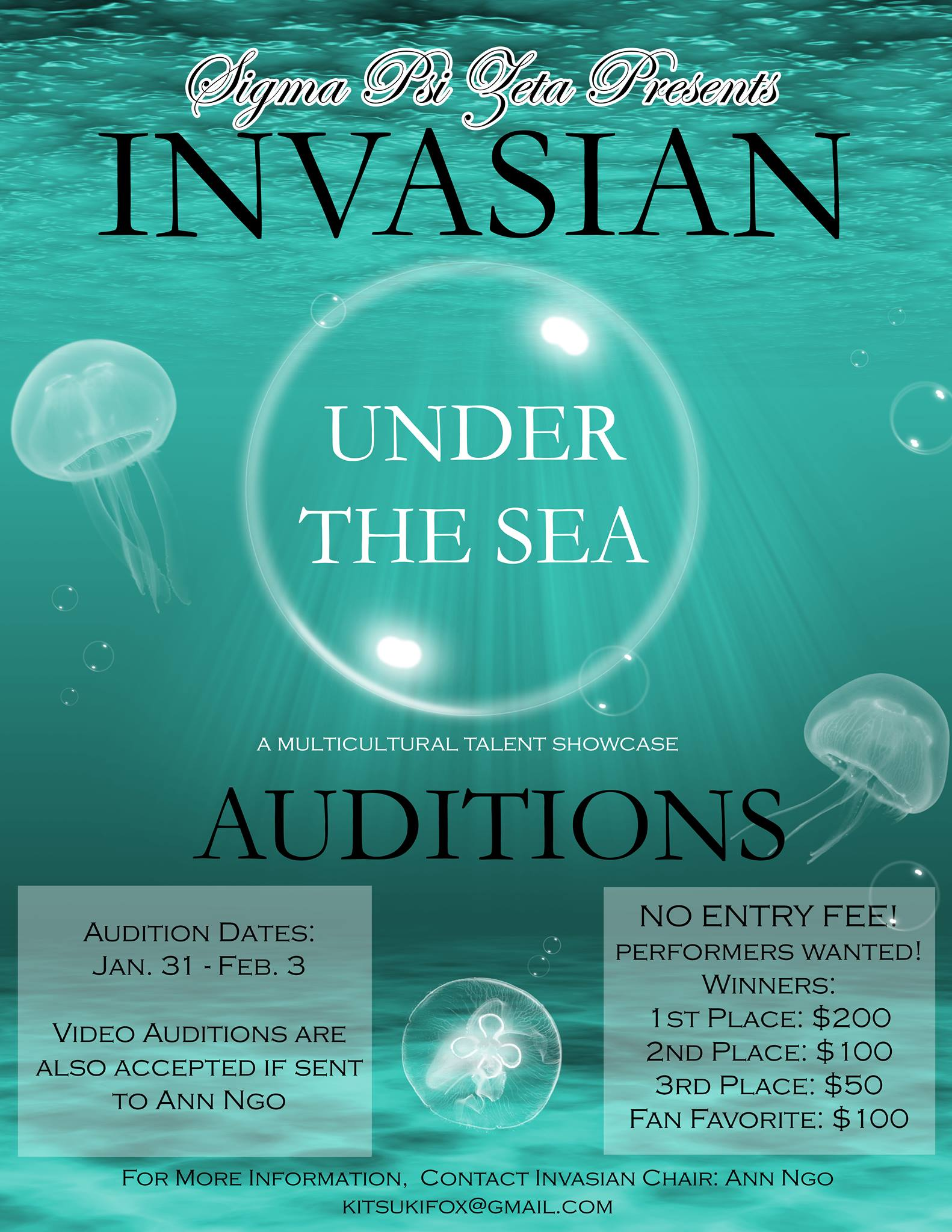 Audition application deadline: January 27th at 11:59 PM.