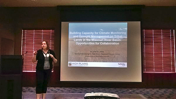 Crystal Stiles, climatologist with the High Plains Regional Climate Center, delivers a presentation on climate monitoring and drought management on tribal lands. | Courtesy image