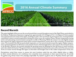 The High Plains Regional Climate Center released its first annual summary. | Courtesy image