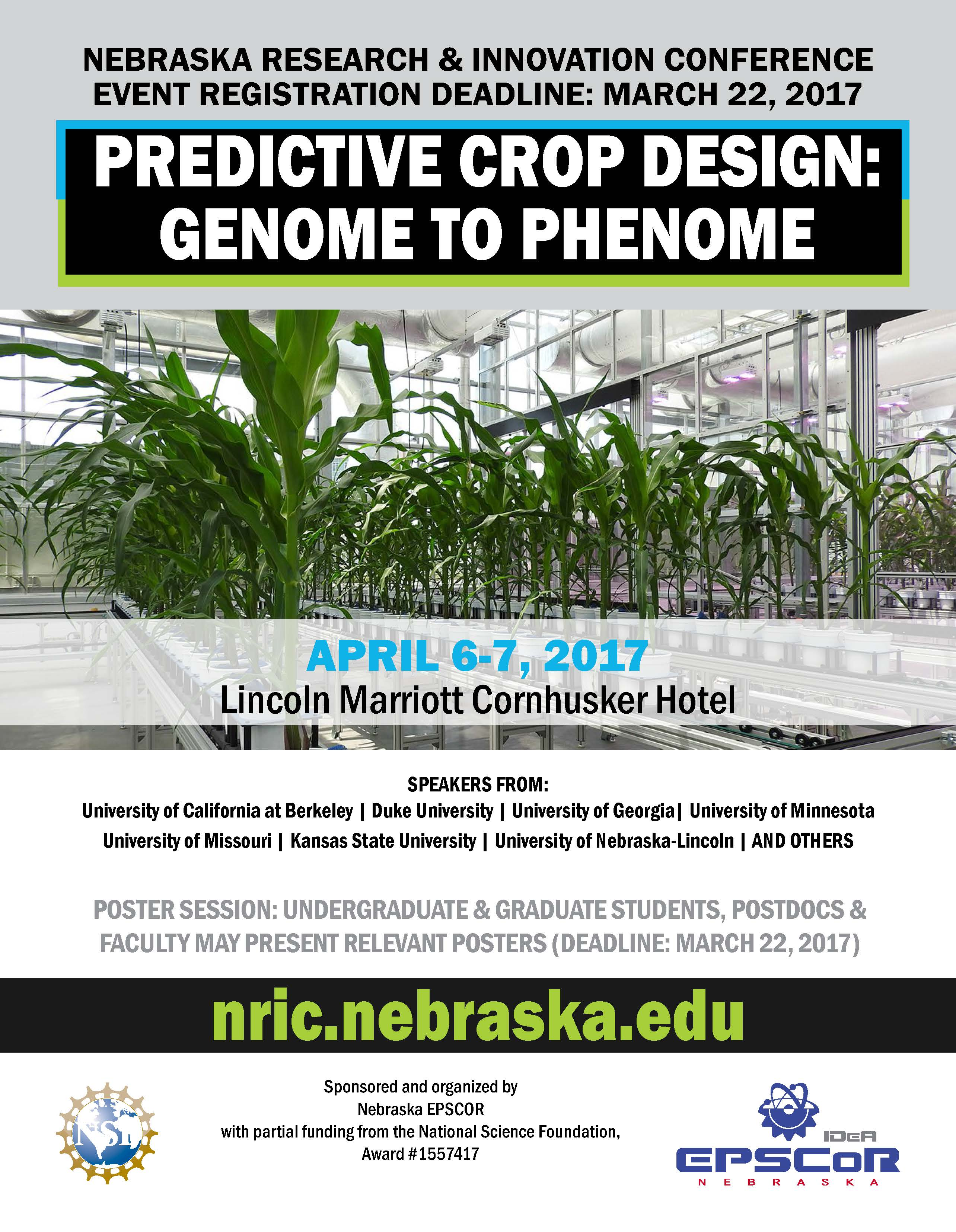 Registration is open for Predictive Crop Design: Genome to Phenome on April 6-7 in Lincoln.