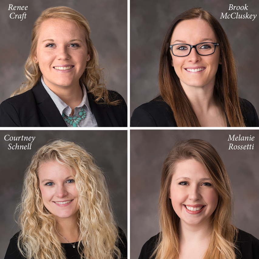 2017 Wasson Award receipients (clockwise): Renee Craft, Brook McCluskey, Melanie Rossetti, and Courtney Schnell.