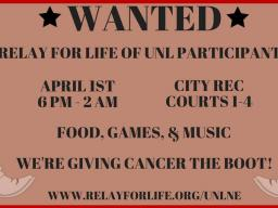 UNL Relay For Life is honoring cancer survivors and caregivers while raising money to Give Cancer the Boot!
