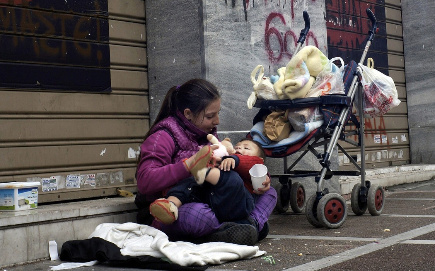 Homeless mother and baby