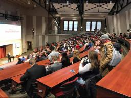 Students at Nebraska Innovation Campus for the Reverse Pitch event in January.