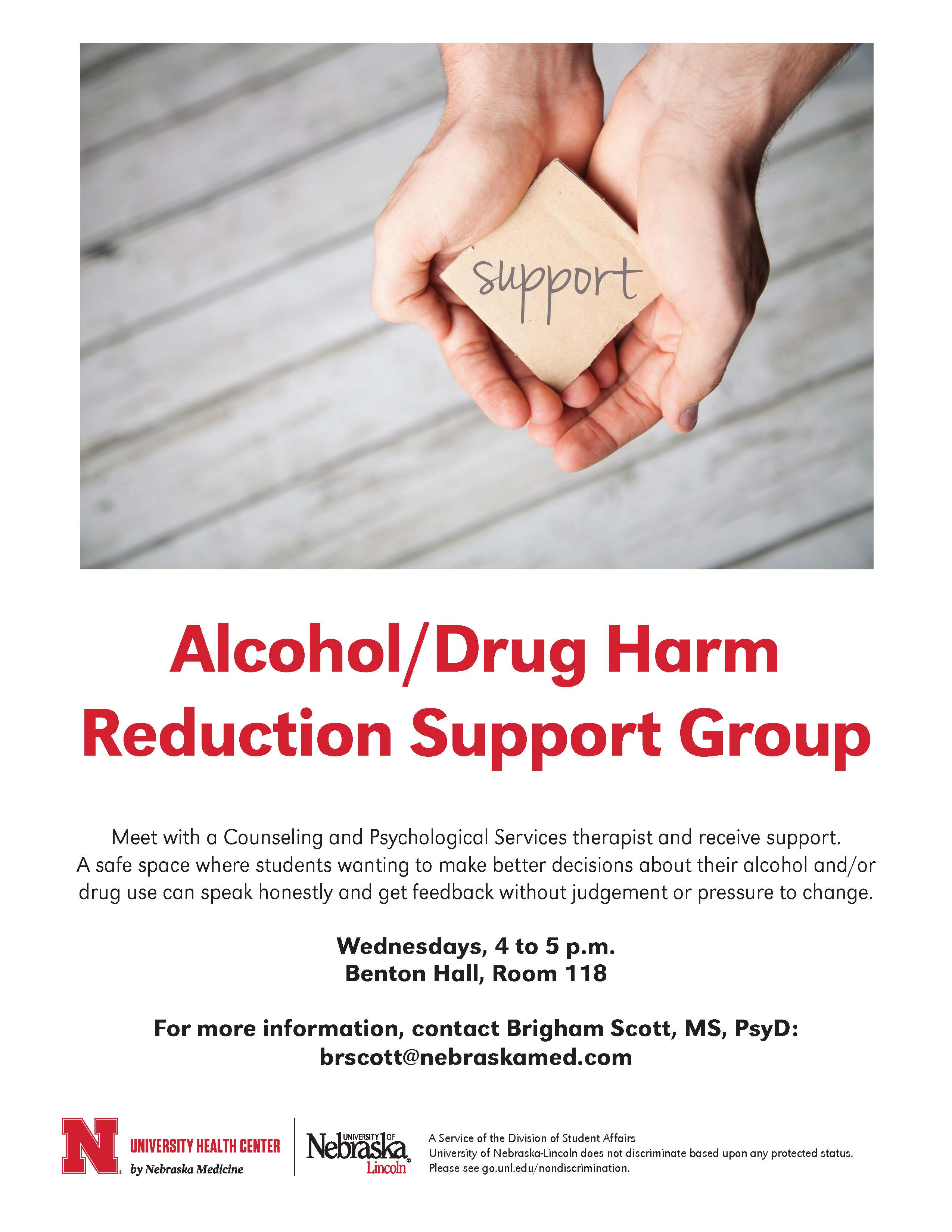 Alcohol/Drug Harm Reduction Support Group flyer