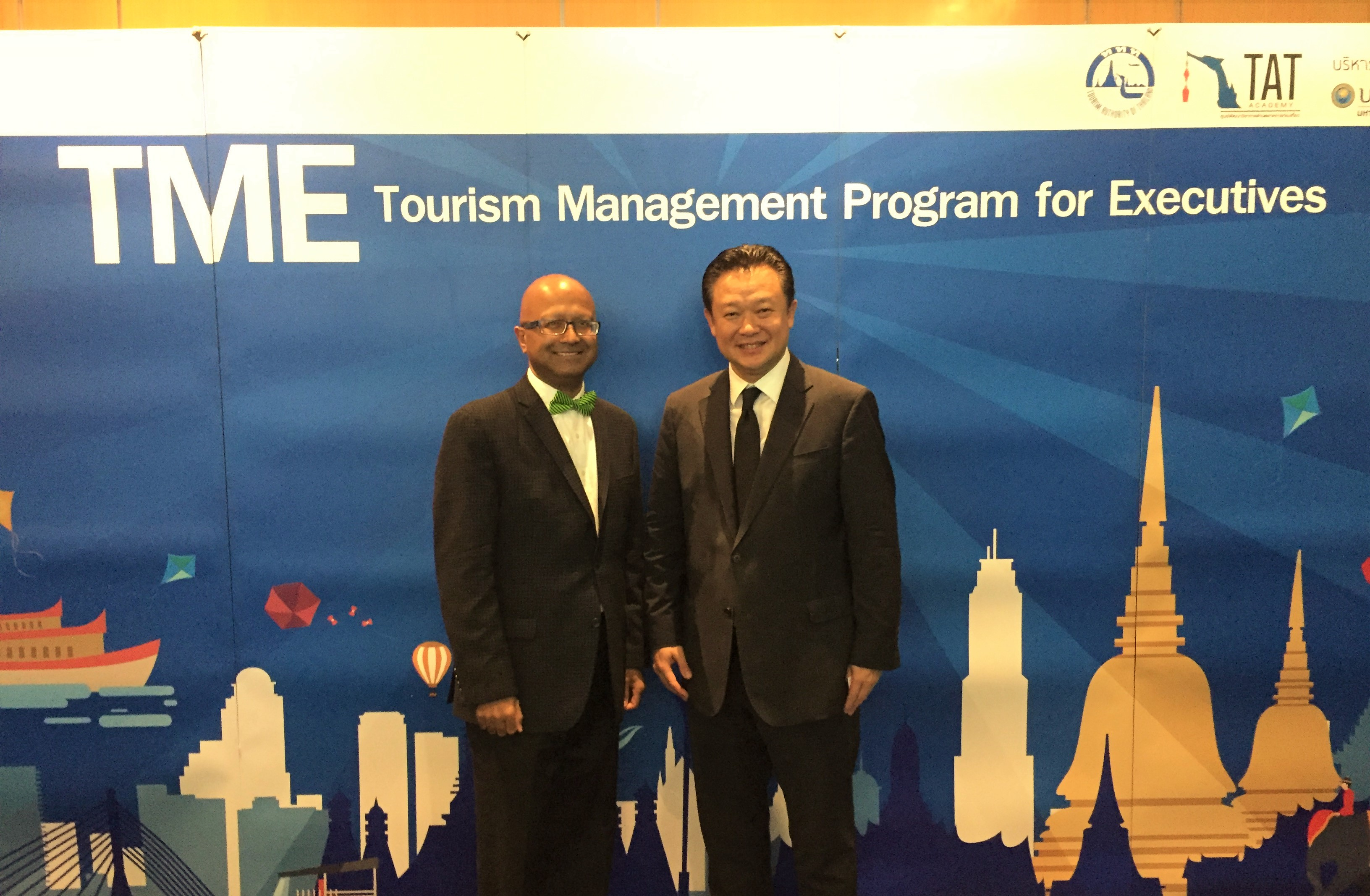 Dipra Jha (L) with Dr. Yuthasak Supasorn, Governor, Tourism Authority of Thailand