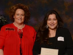 UNL Parents Association President Lynette Asay with recipient Amanda Morales from the College of Education and Human Sciences.