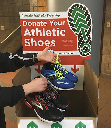 Shoes can be donated thru April 28 at the Rec & Wellness Center, Outdoor Adventures Center, and Campus Rec Center.