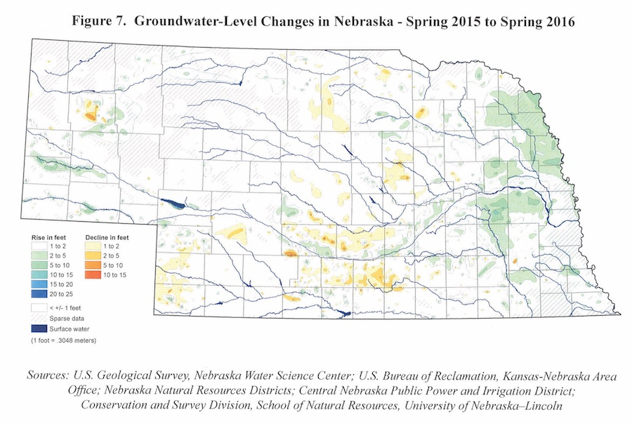 This map from the 2016 Nebraska Statewide Groundwater-Level Monitoring Report shows groundwater-level changes in Nebraska from spring 2015 to spring 2016. | Courtesy image