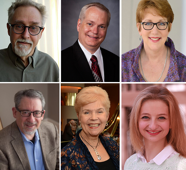 Alumni Board winners (clockwise from upper left):  Lawrence McFarland, Dr. Lance Nielsen, Patricia Raun, Desiree Bartels, MarySue Harris and the Rev. Stephen Griffith.