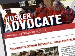 Husker Advocate newsletter on laptop