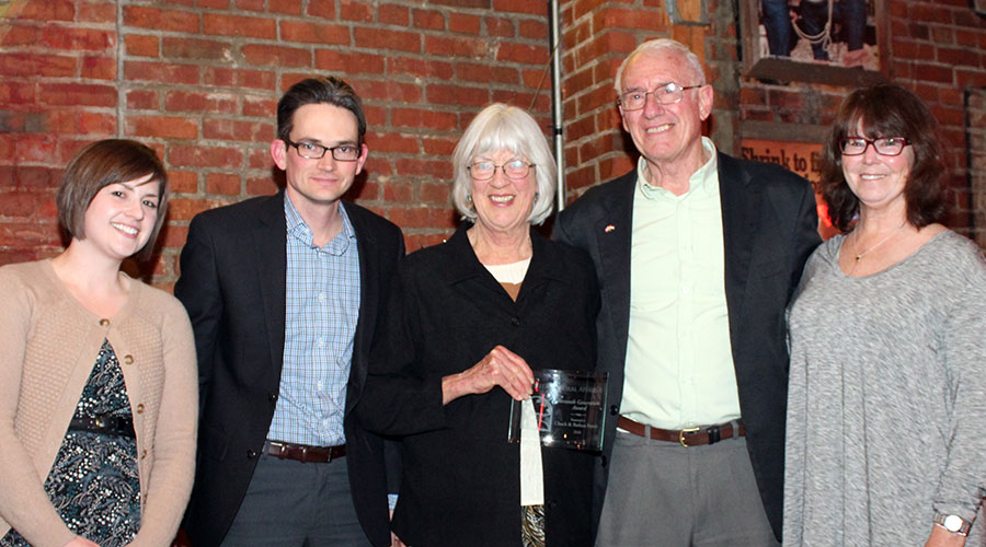 Chuck and Barb Francis are honored with the Seventh Generation Award from the Center for Rural Affairs. Pictured, from left, is Jordan Rasmussen, Brian Depew, Kathie Starkweather, and Chuck and Barb Francis. Photo courtesy Center for Rural Affairs