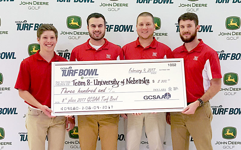 The University of Nebraska–Lincoln Turf Team including Jacob Fuehrer (from left), Andrew Getty, Nick Meister and Matt Hellbusch, finishes eighth in the Golf Course Superintendents Association of America Collegiate Turf Bowl, Feb. 9 in Orlando, Florida.
