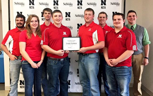 The University of Nebraska–Lincoln Crops Team earns second place at the Nebraska College of Technical Agriculture collegiate crops judging contest on March 11 in Curtis, Nebraska.
