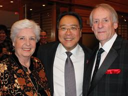 Anabeth Hormel Cox, left, and her late husband, Ted Cox, right, meet cellist Yo-Yo Ma in Lincoln in this file photo. Anabeth has given a major gift to the Lied Center for Performing Arts to support live classical music programming in Lincoln. Courtesy pho