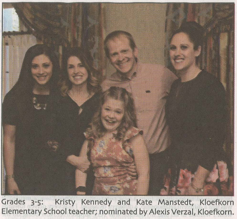 Kristy Kennedy (left) and Kate Manstedt were nominated by one of their Kloefkorn students.