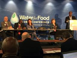 Tsegaye Tadesse of the National Drought Mitigation Center at the School of Natural Resources presents during a session Monday at the Water for Food Global Conference. | Courtesy IANR Global Engagement Office