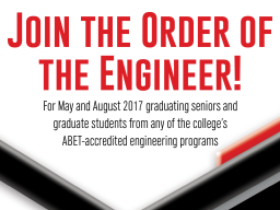 The Order of the Engineer ceremony will be Friday.