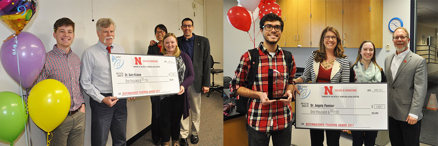 Gary Krause (left) and Angela Pannier were co-winners of Tau Beta Pi Distinguished Teaching Award.