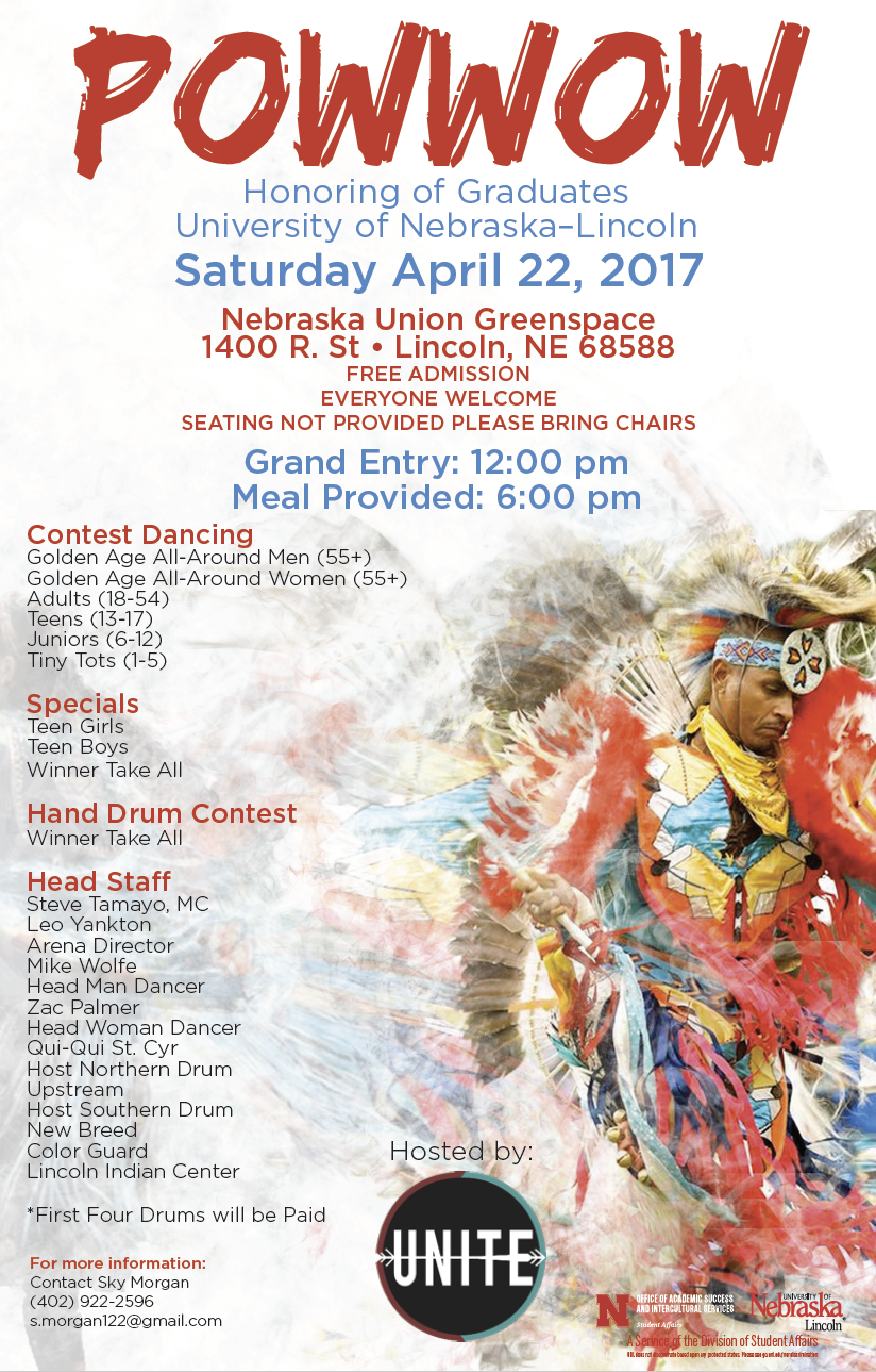 The UNITE Powwow begins at 12 p.m. on Saturday, April 22 in the Nebraska Union Greenspace.