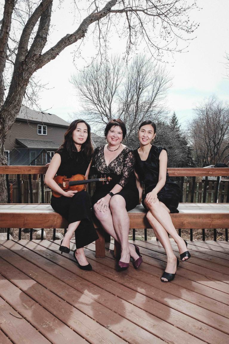 Violinist Hyeyung Yoon and dancers Susan Levine Ourada and Hye-Won Hwang
