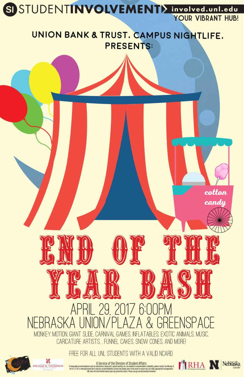 End of Year Bash will feature Monkey Motion, a giant slide, carnival games, inflatable games, a photo booth, exotic animals, music, caricature artists, games, funnel cakes, snow cones, popcorn and more.
