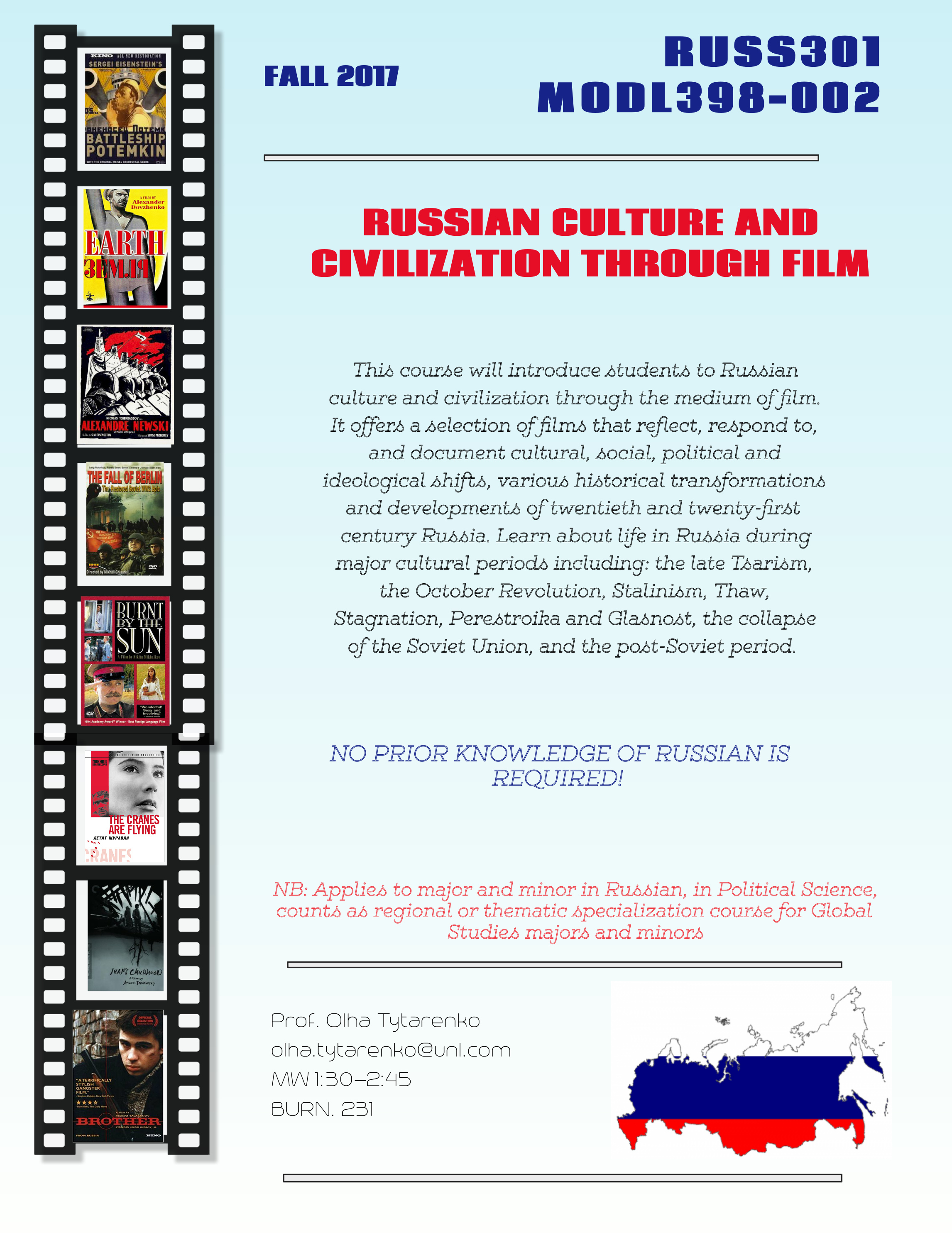 FALL COURSE: MODL398-002: Russian Culture and Civilization Through Film