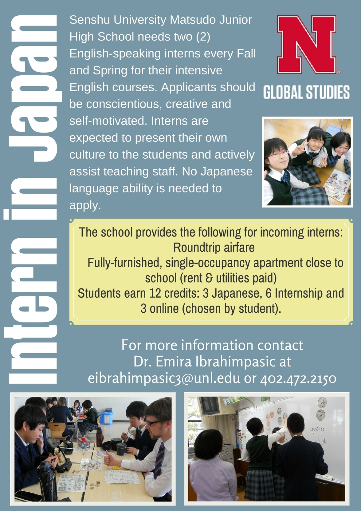 Intern in Japan during Spring 2018