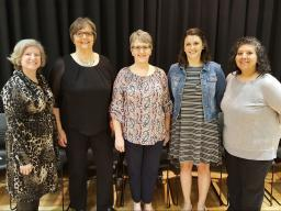 2017 Rose Frolik Award nominees (left to right): Marsha Yelden, Susan Thomas, Debra Predmore, Alycia Harden and Andrea Peterson.