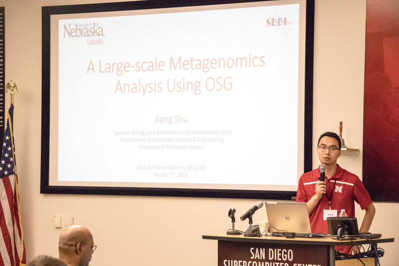 """UNL PhD student Jiang Shu presenting his research """"A Large-scale Metagenomics Analysis using OSG"""" at the OSG All Hands Meeting 2017"""