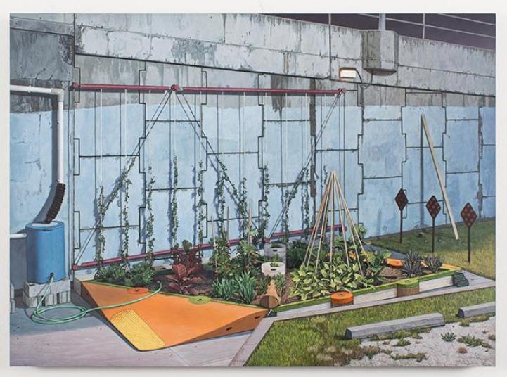 "Neil Griess, ""Dead End Garden,"" 2012-14, acrylic on panel, 16 7/8"" x 23 1/3 """
