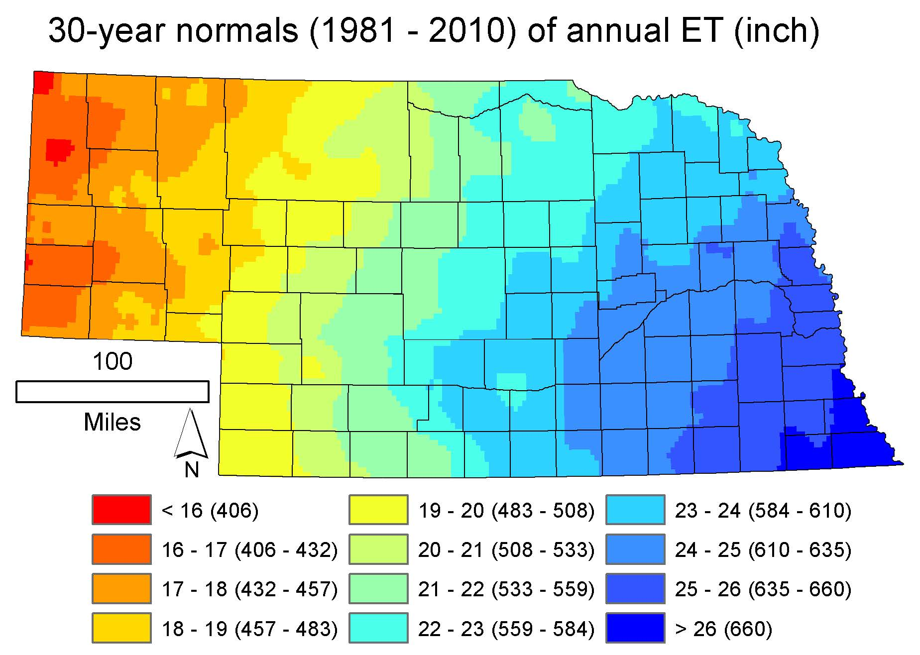 Annual evapotranspiration rates of native vegetation in Nebraska are shown in the latest bulletin released by the Conservation and Survey Division; the state-wide mean is 21.6 inches.  | Courtesy