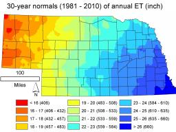 Annual evapotranspiration rates for Nebraska are show in the latest bulletin released by the Conservation and Survey Division; the state-wide mean is 21.6 inches. | Courtesy