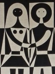 Alexander Girard wall hanging, black and white couple, 1972; screen print on linen.  TMFD Historic Textiles Collection