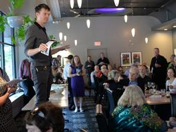 Nebraska Repertory Theatre Artistic Director Andy Park announces the season on May 11. Photo by Michael Reinmiller.