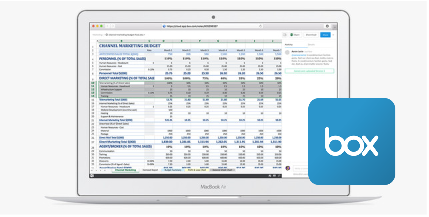 Excel files previews are greatly improved in the new Box interface.
