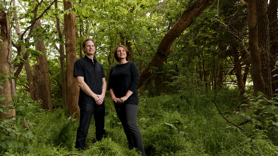 David Karle and Sarah Thomas Karle visit a shelterbelt near Lincoln that survives the New Deal. | Craig Chandler, University Communication
