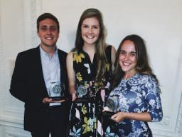 Chris Bowling, left, Lauren Brown-Hulme and Calla Kessler with their Hearst Awards.