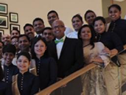 HRTM Assistant Professor of Practice Dipra Jha recently delivered workshops to luxury hospitality professionals in India. Jha, with green bow tie, is shown with participants at Trident Hotel in Hyderabad, India.