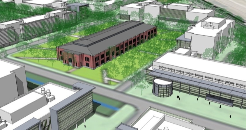 Conceptual drawing of Innovation Campus' 4-H Building commons area.