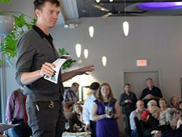 Andy Park announces the season at a special event May 11 at The Dish in Lincoln. Photo by Michael Reinmiller.